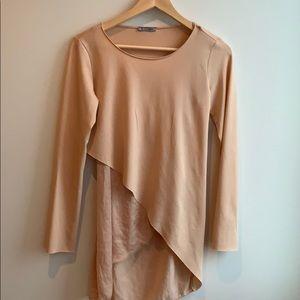Zara Asymmetric Cream Long top